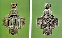 Cross-reliquary. The Crucifixion, Archdeacon Stephen, St. Nicholas, St. Stephen the Confessor(?). Mid-14th century. Work of Semyon Zolotilov. Obverse & Reverse