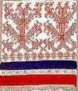 Embroidered pattern with leopards. Towel. 19th century. Tula region (technics « interweave»)